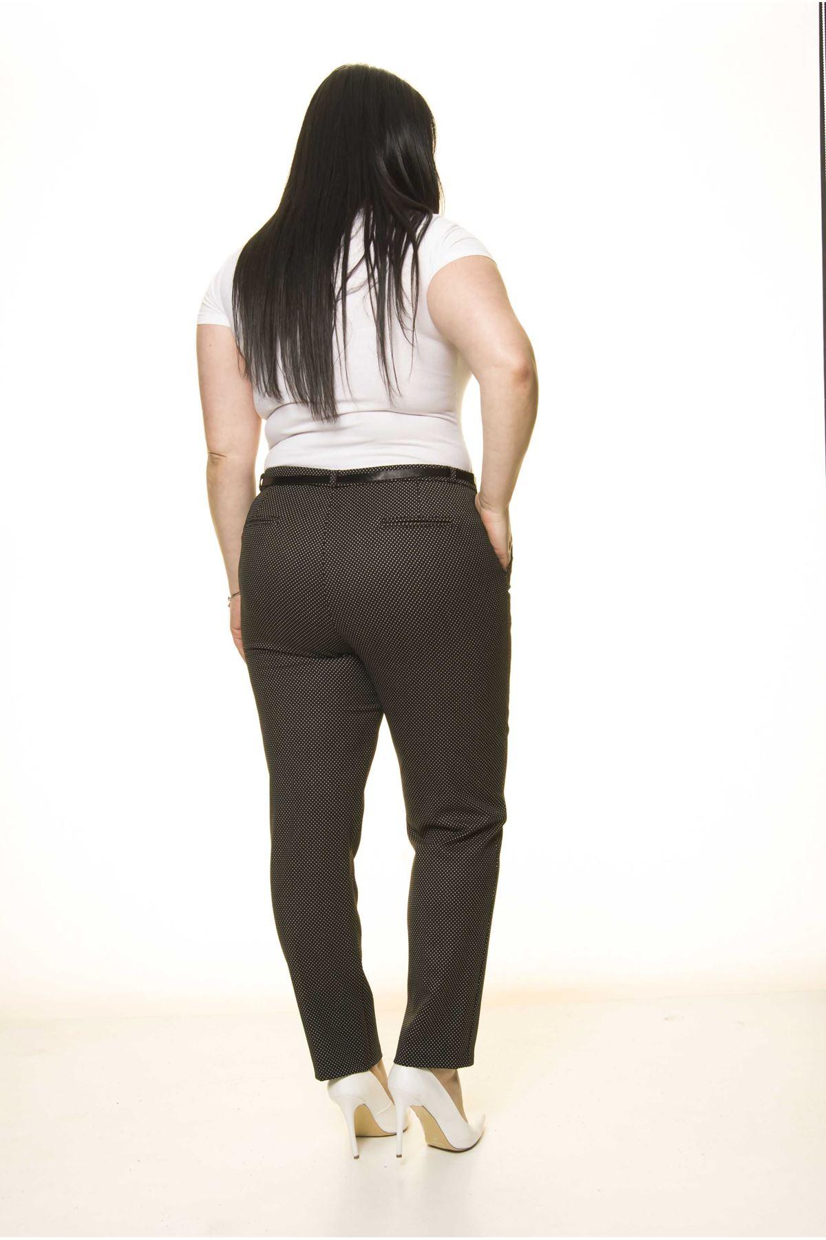 Puantiyeli Siyah Kemerli Esnek Büyük Beden Pantolon L2-1703