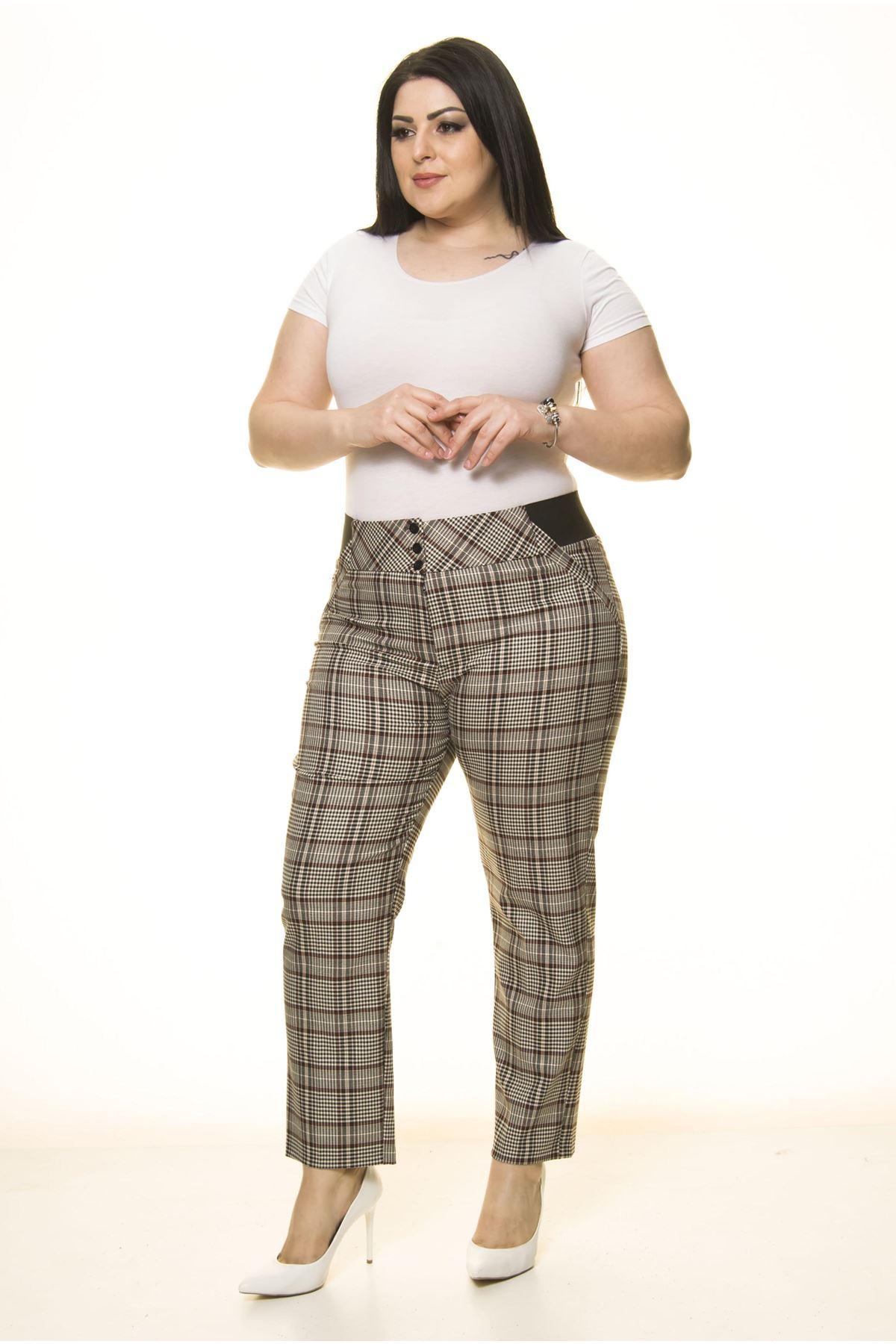 Ekose Desen Cepli Büyük Beden Pantolon L1-1687