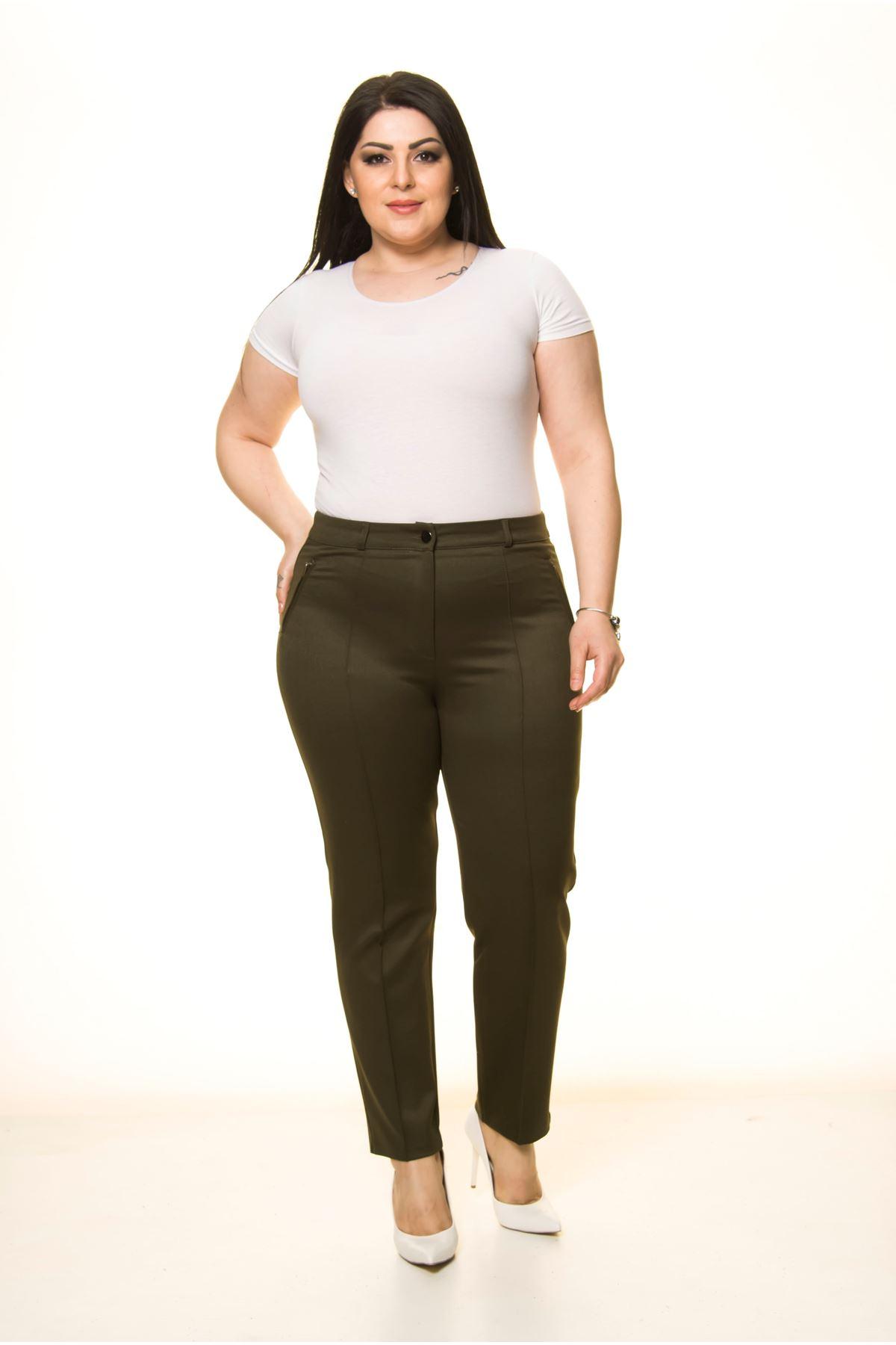 Yeşil Yandan Cepli Büyük Beden Pantolon L1-1719