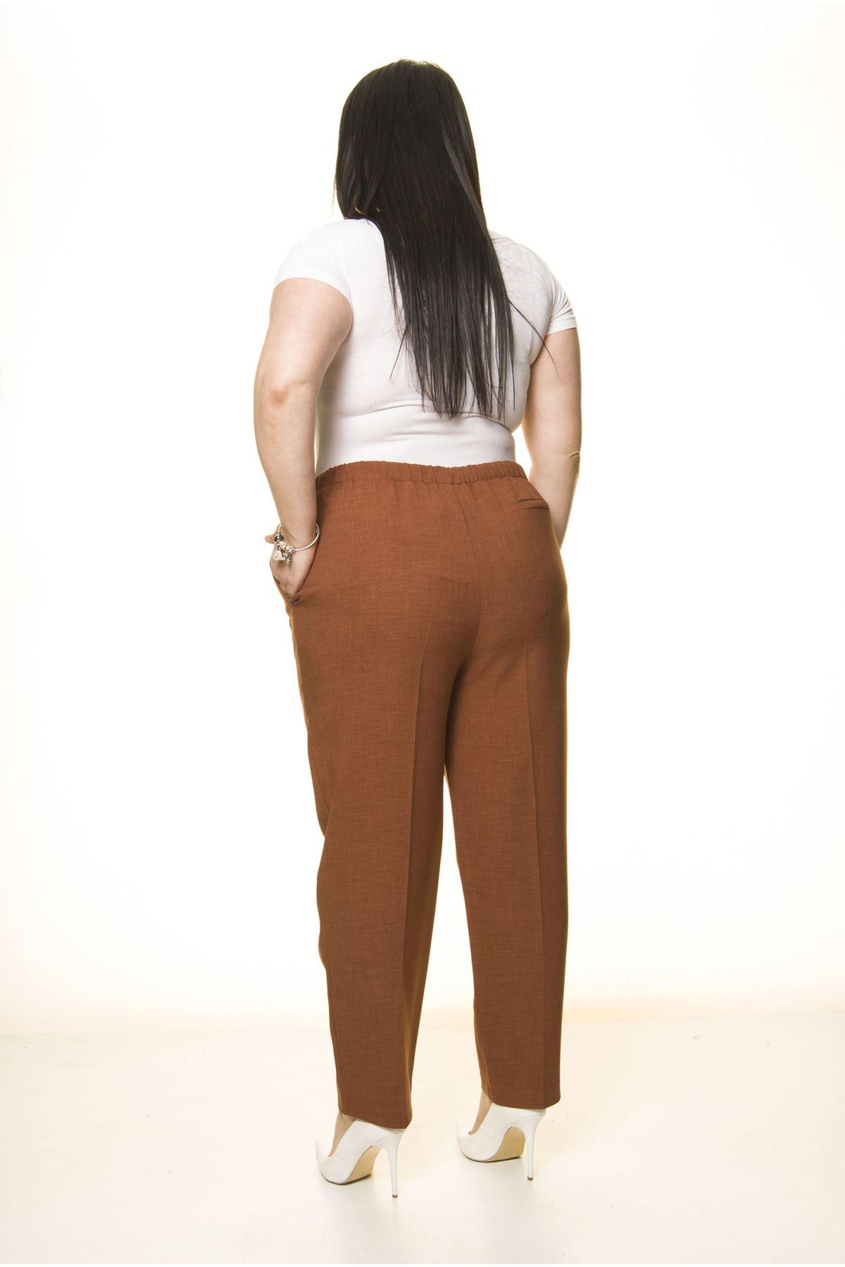 Kahverengi Büyük Beden Kumaş Pantolon L1-1696