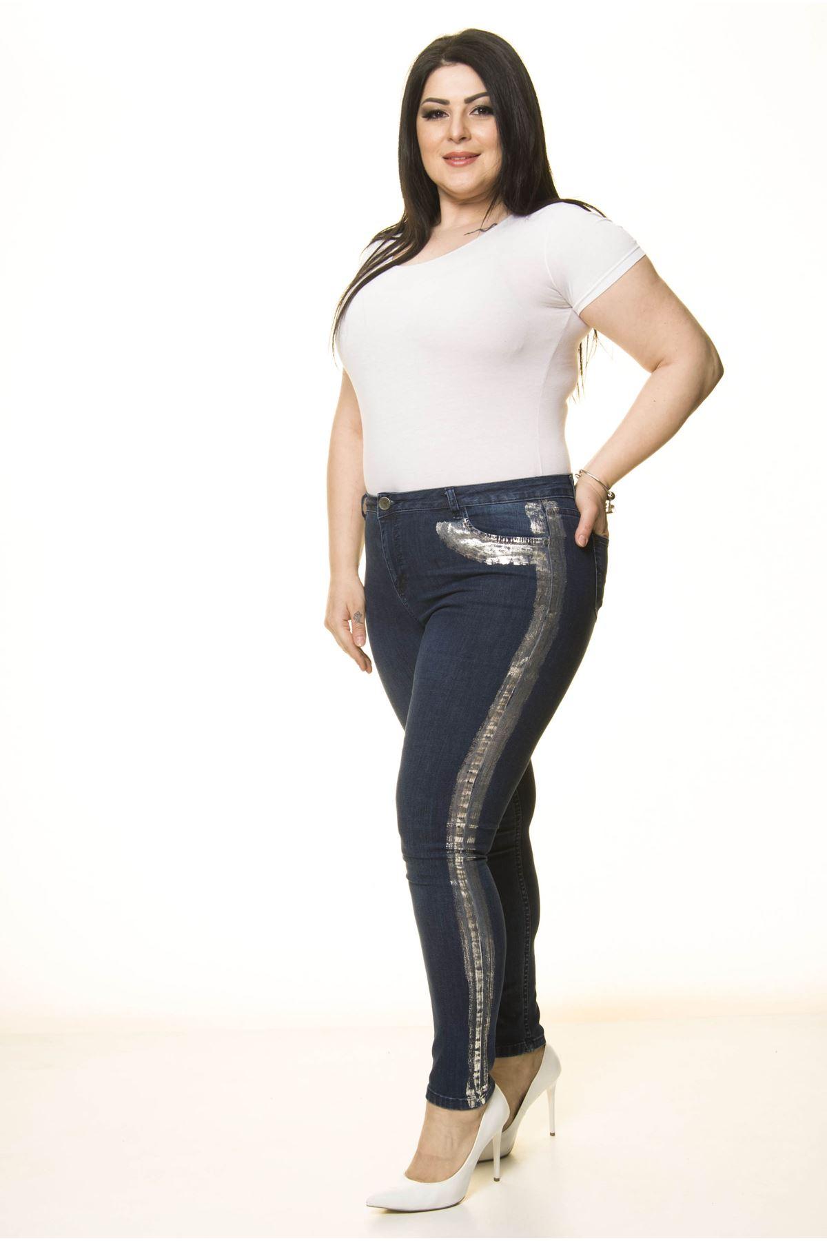 Gümüş Detaylı Büyük Beden Kot Pantolon L2-1722