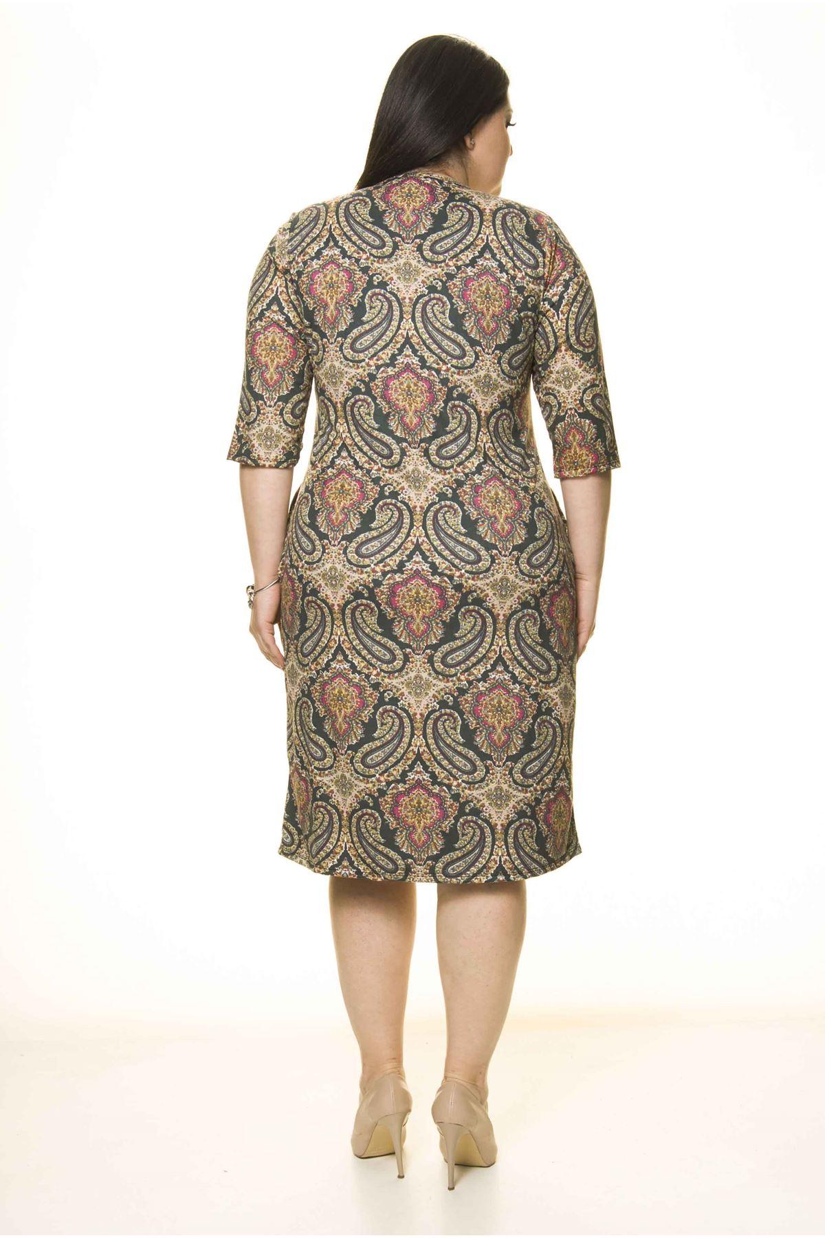 Cepli Esnek Büyük Beden Elbise 8D-1750