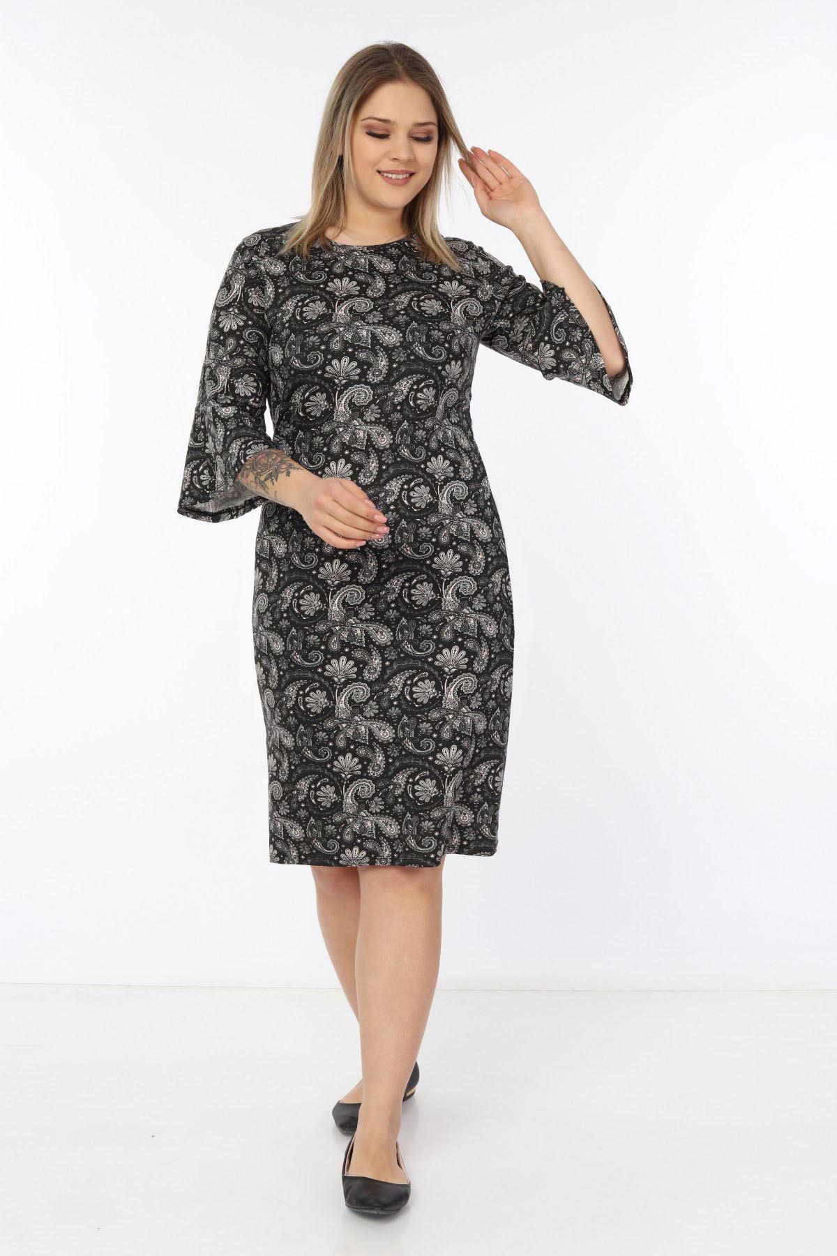 Volan Kollu Büyük Beden Elbise 5C-1751