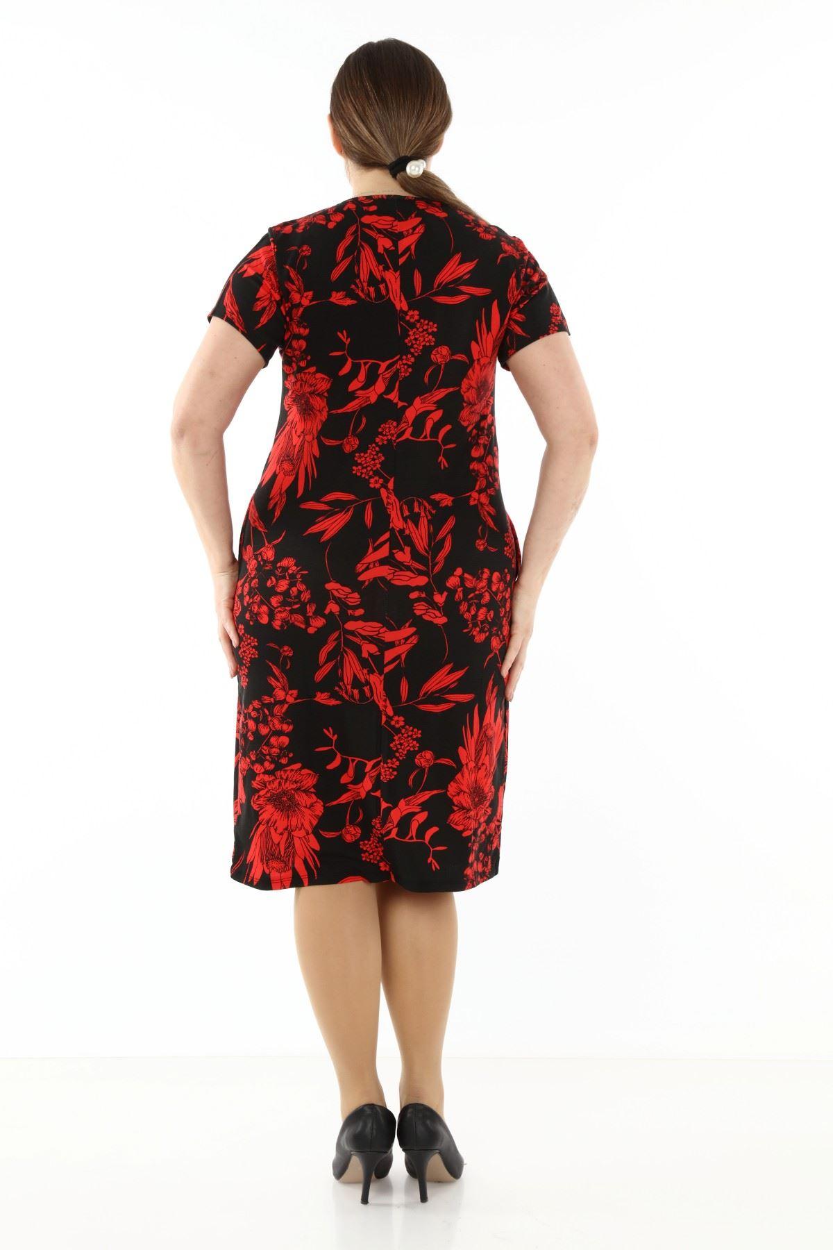 Kısakol Cepli Desenli Büyük Beden Elbise 10A-1758