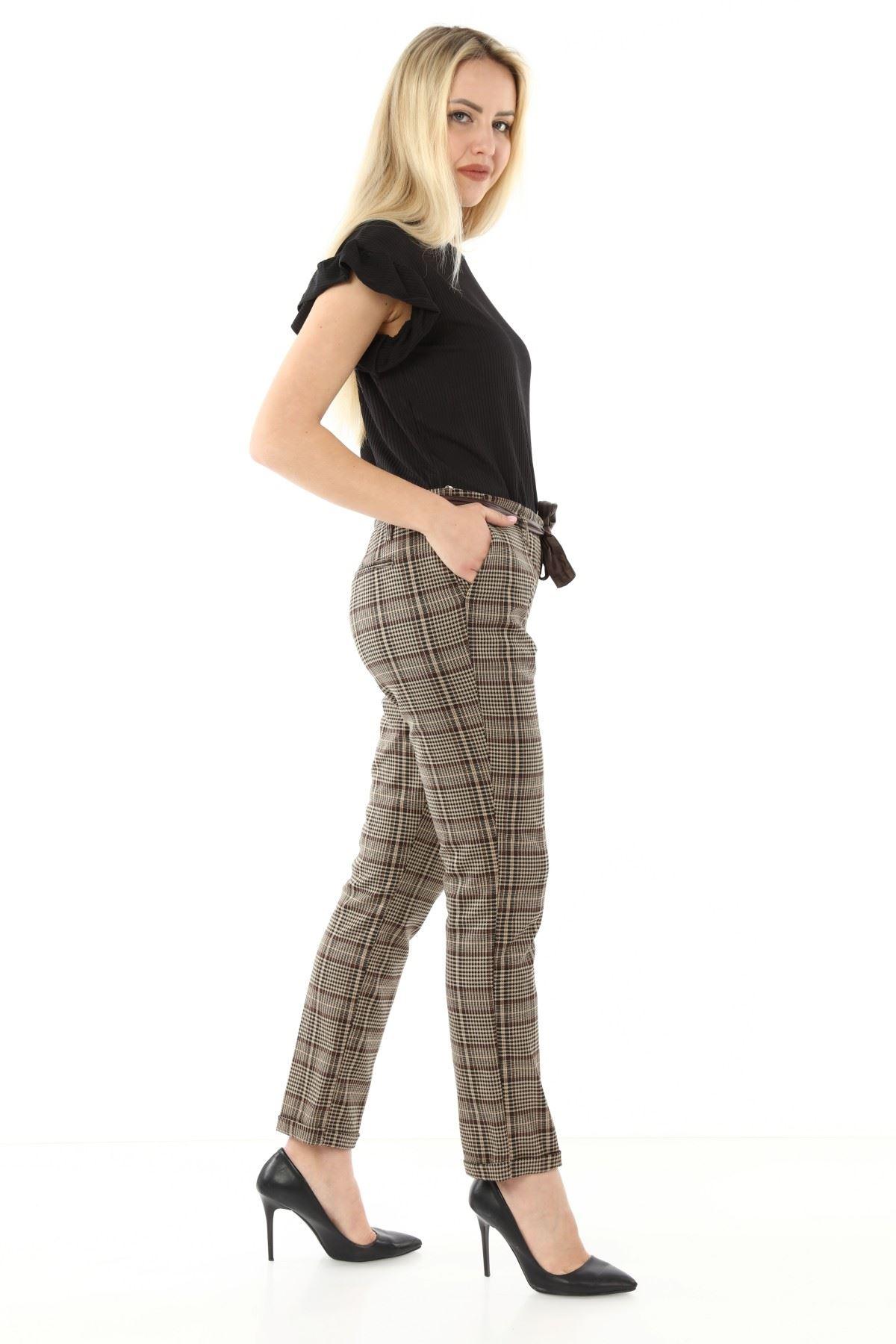 Kahverengi Ekoseli Kumaş Pantolon L1-1685