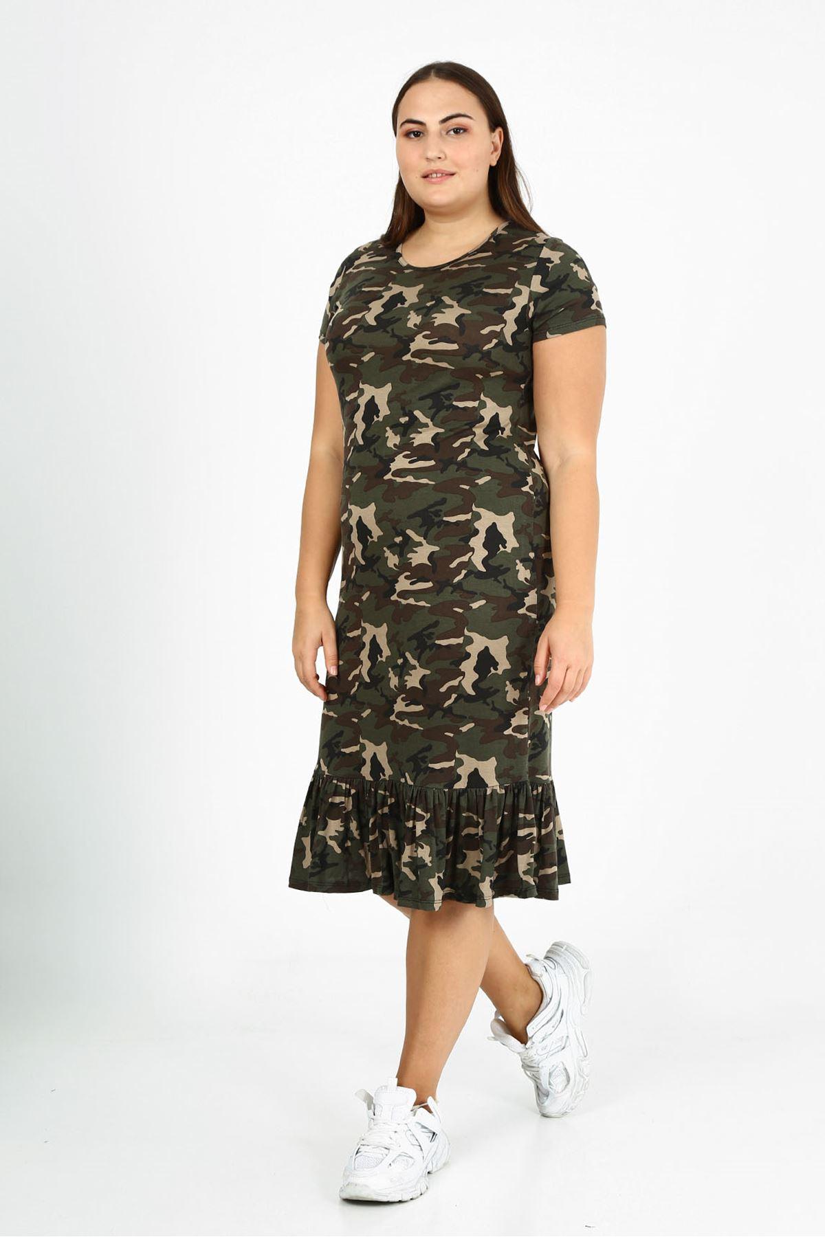 Kamuflaj Desen Eteği Fırfırlı Büyük Beden Elbise 3F-1773