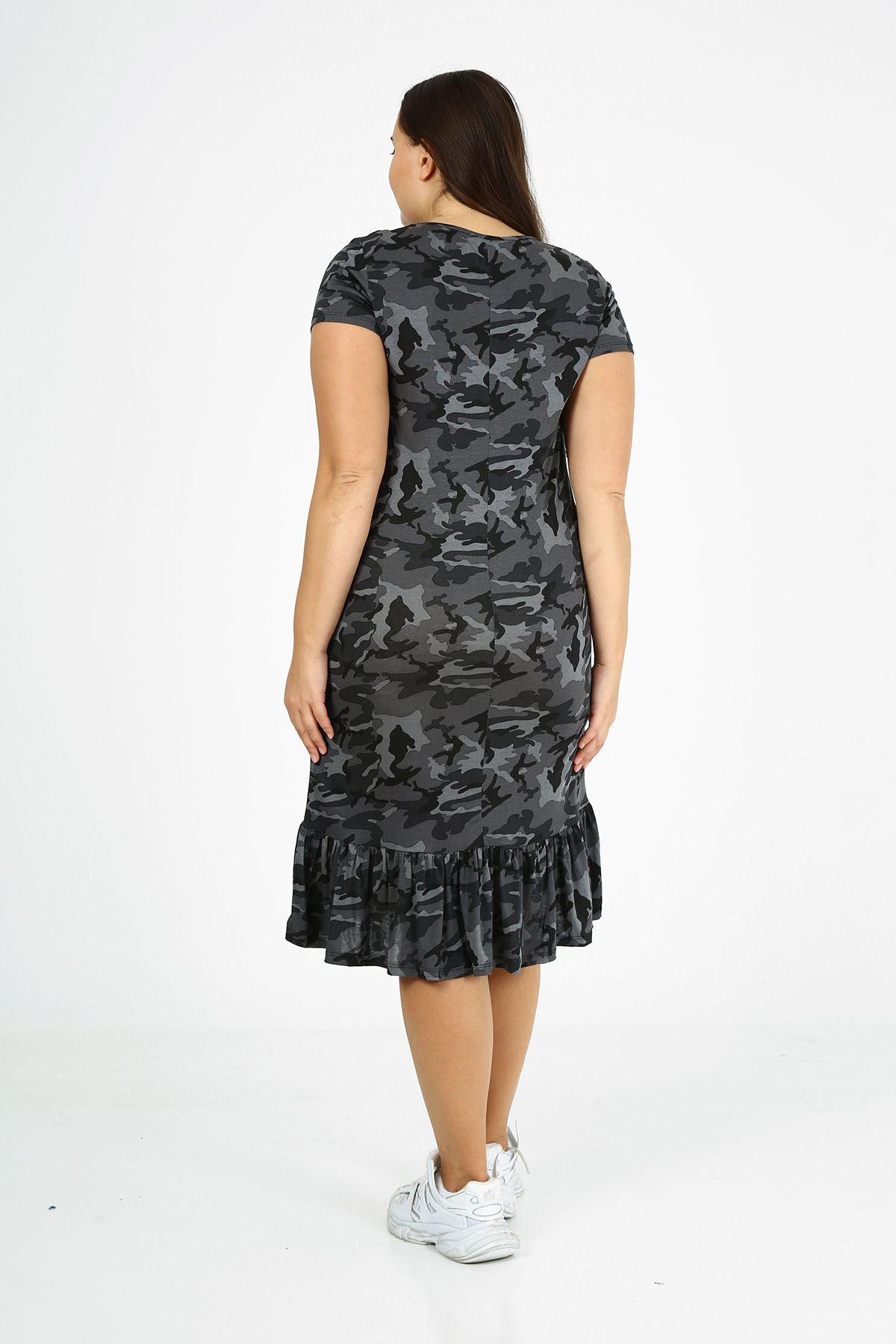 Kamuflaj Desen Eteği Fırfırlı Büyük Beden Elbise 24C-1771