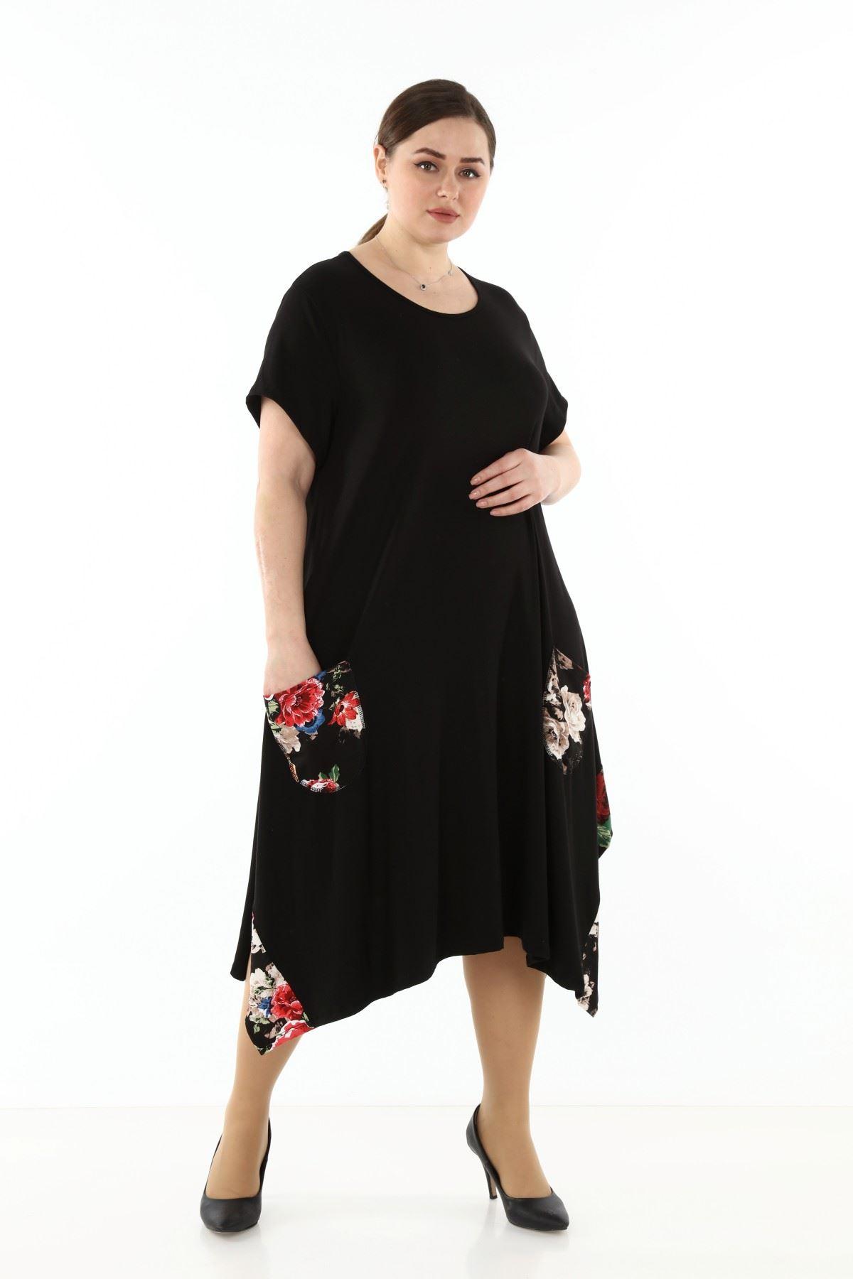 Garnili Cepli Büyük Beden Elbise 18E-1769