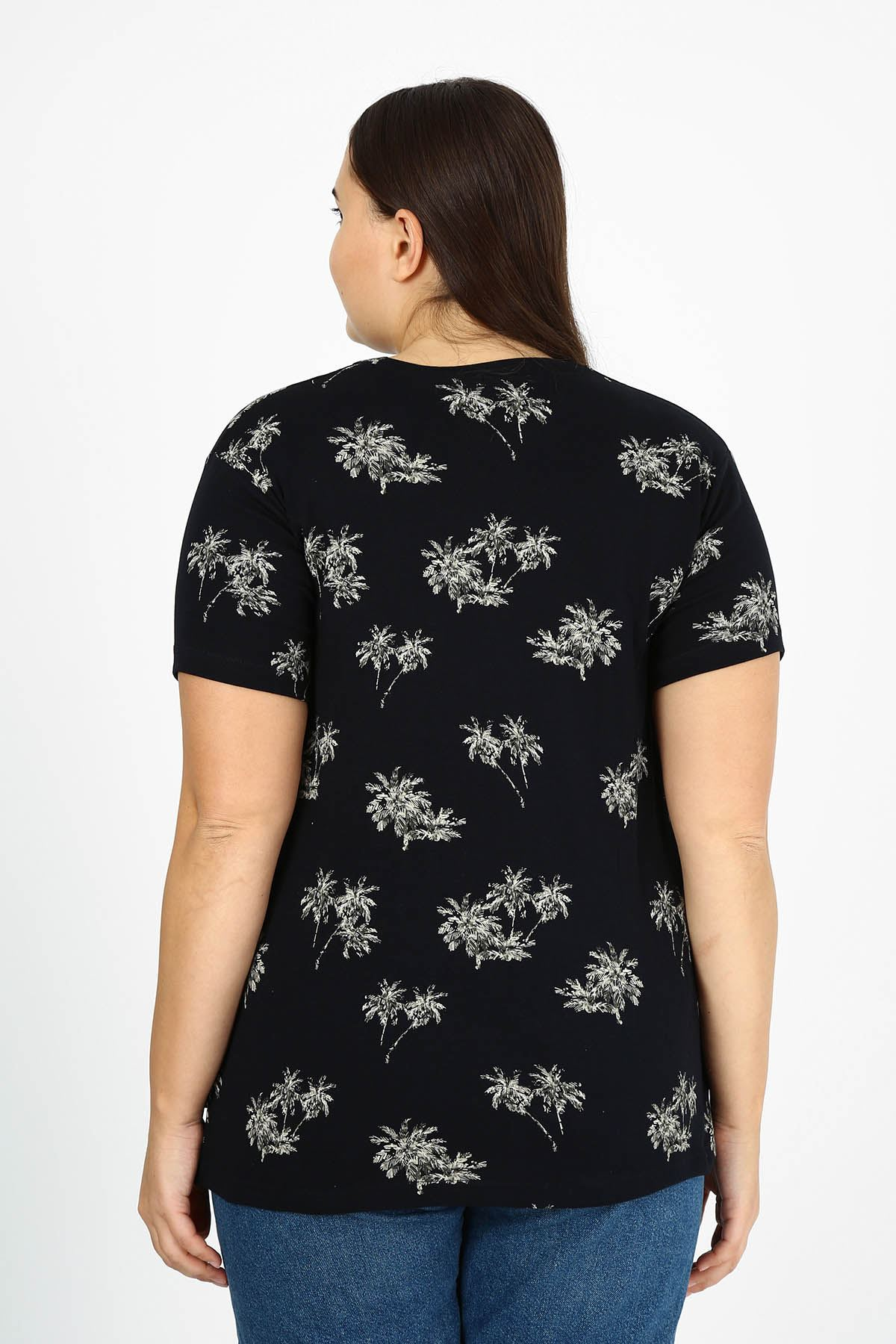 Siyah Desenli T-shirt 21B-1778