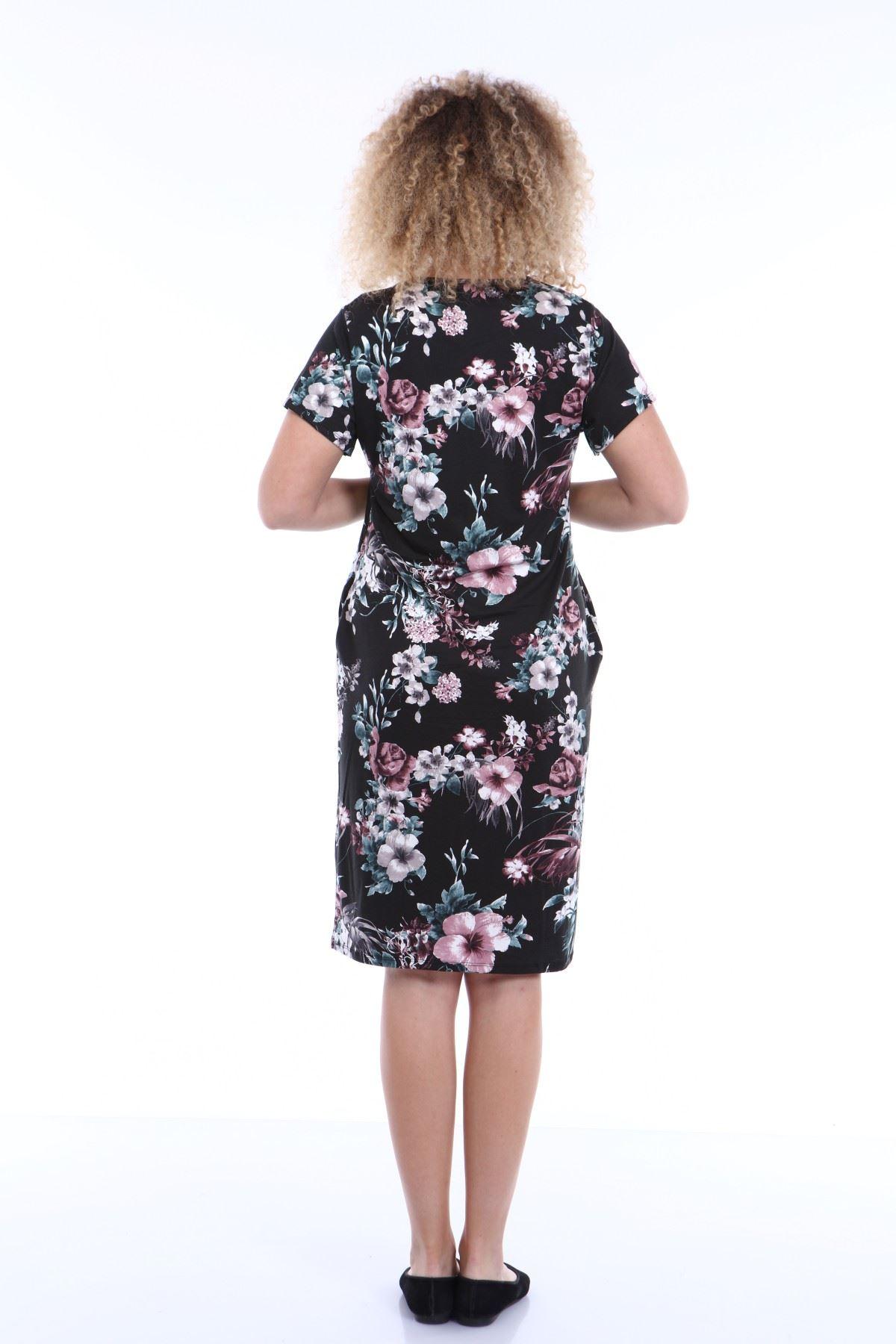 Kısakol Cepli Büyük Beden Elbise 2D-1779