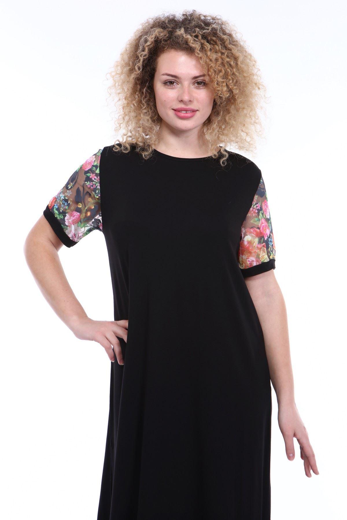 Kol Detaylı Siyah Büyük Beden Elbise 4C-1792