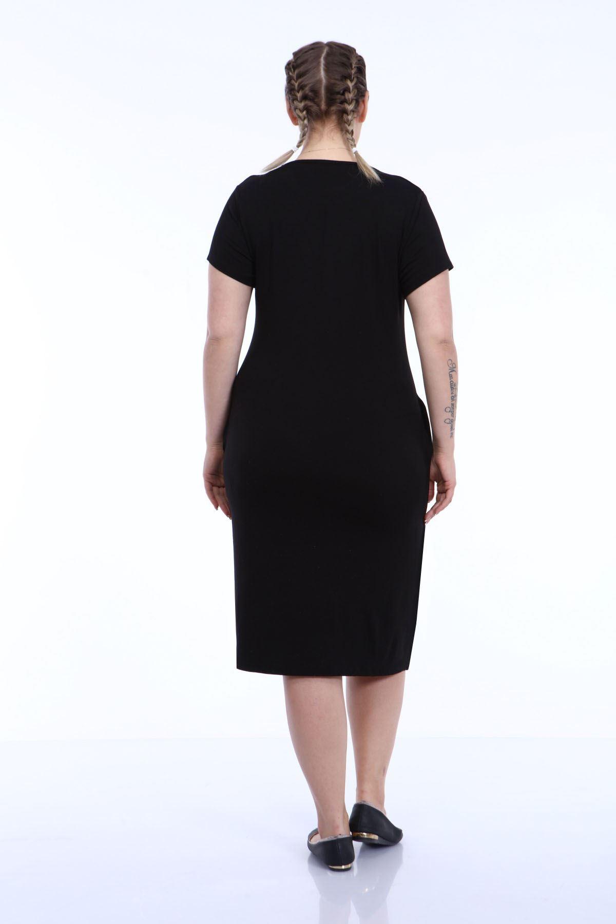 Kısakol Cepli Siyah Büyük Beden Elbise 29E-1797