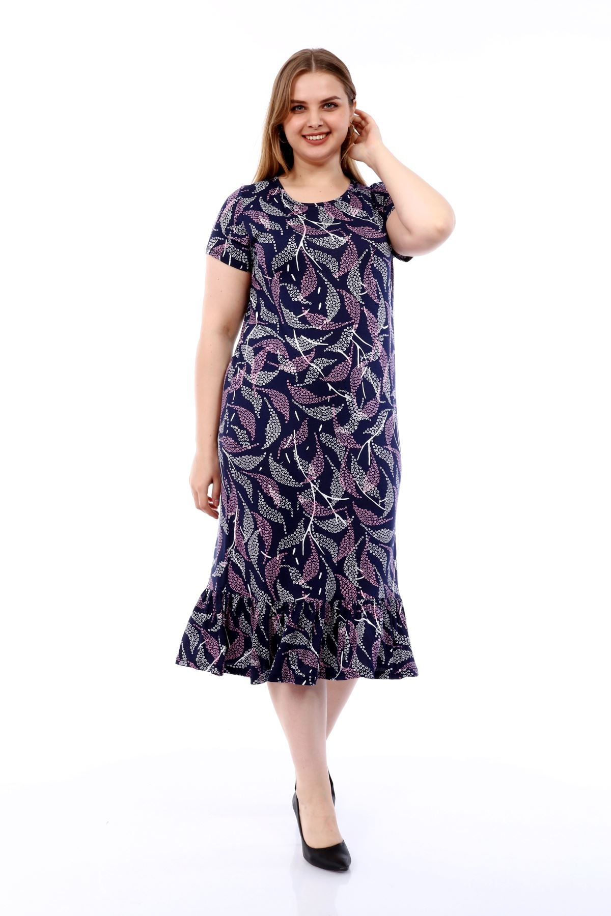 Desenli Büyük Beden Elbise 30A-1803