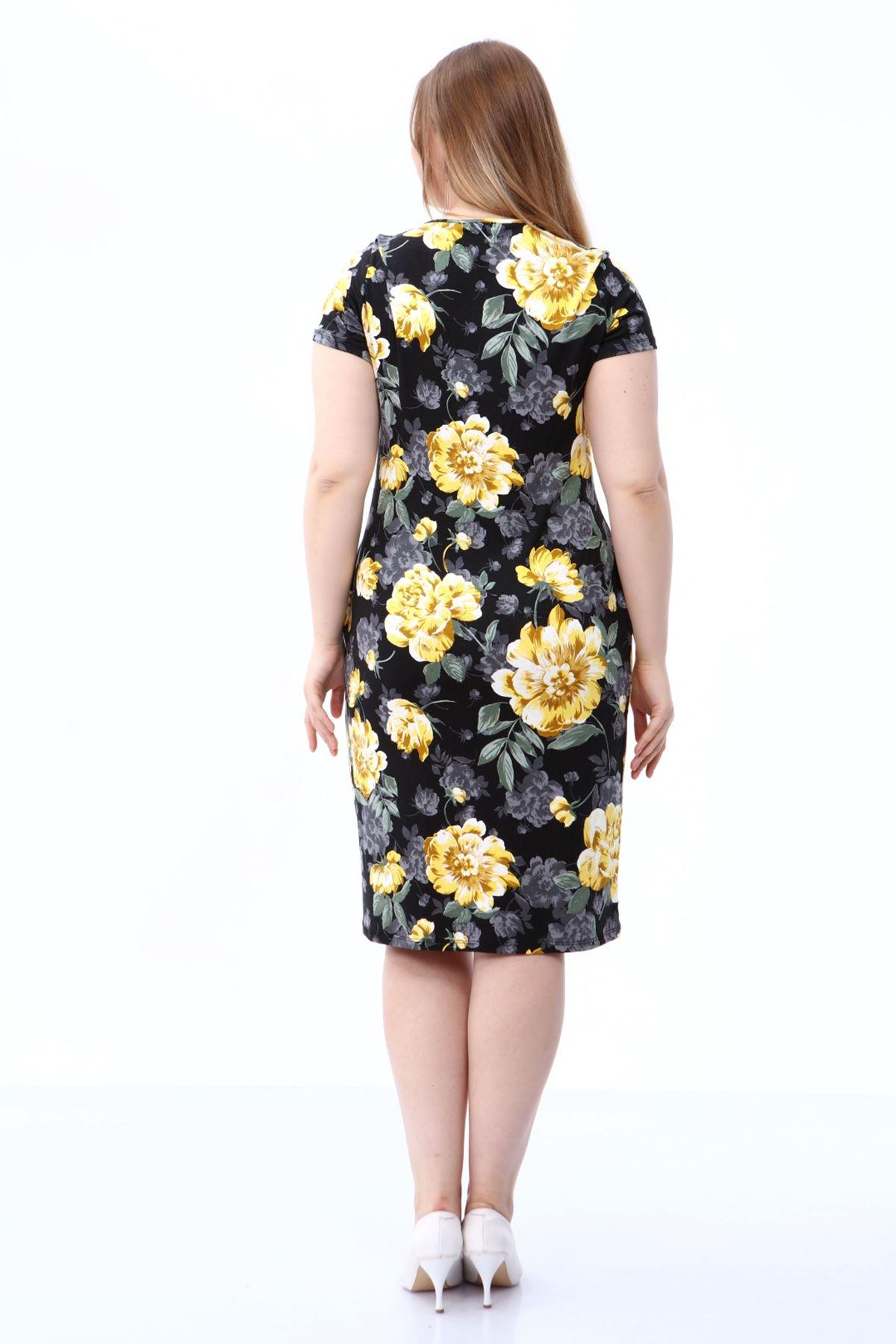 Çiçek Desenli Büyük Beden Elbise 21E-1805