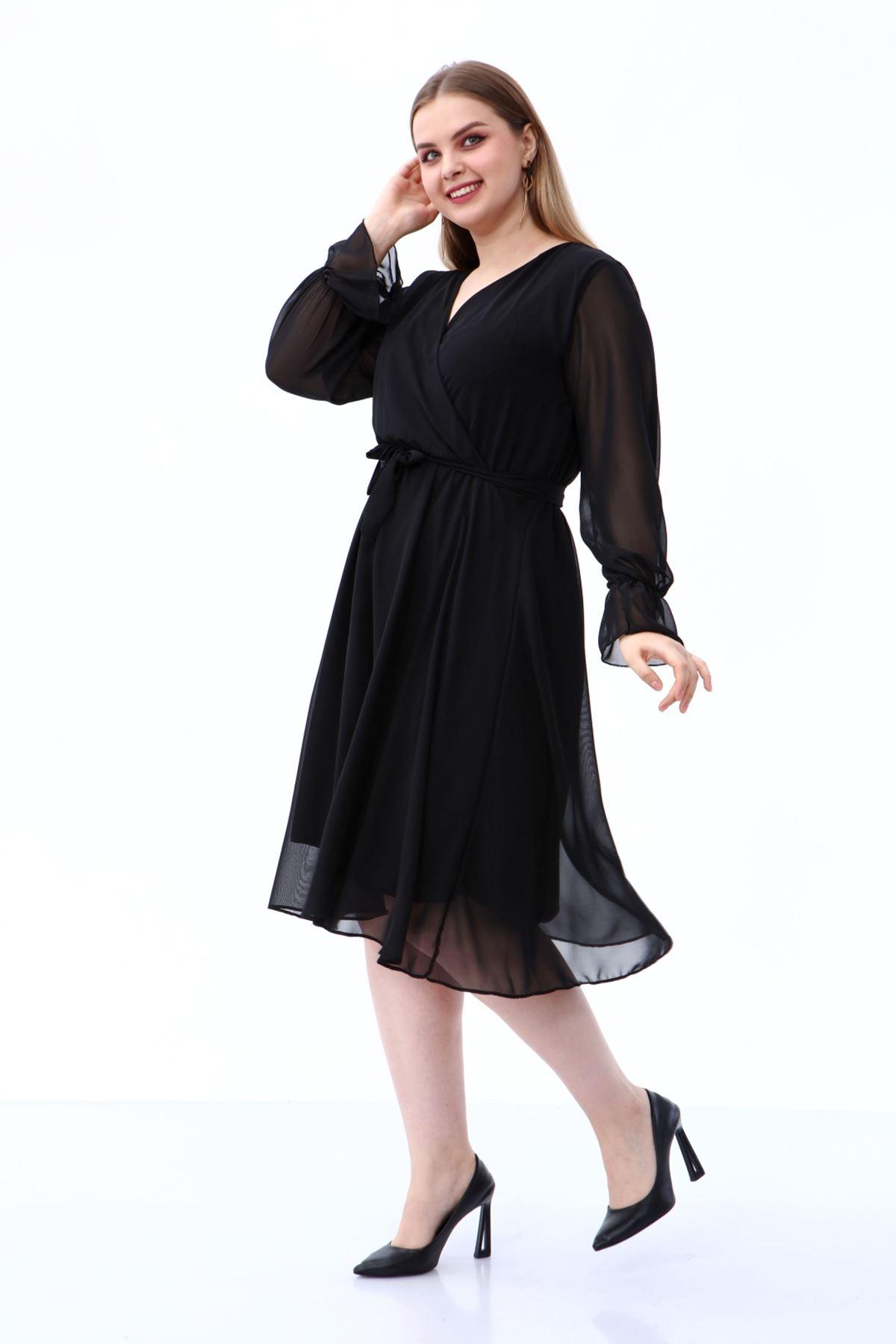 Uzun Kol Büyük Beden Şifon Elbise 30A-1809