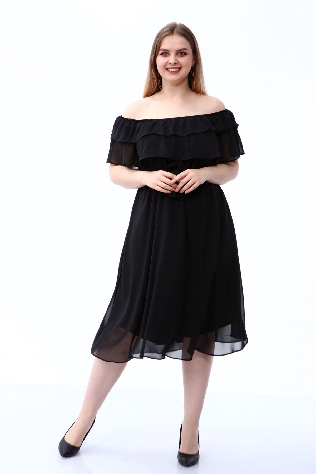 Karmen Yaka Büyük Beden Şifon Elbise 30A-1810