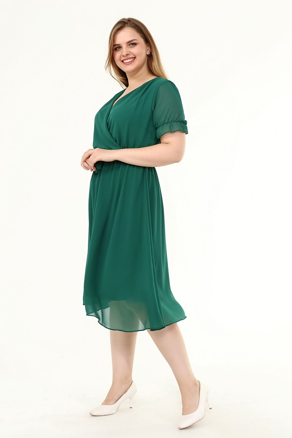 Kruvaze Yaka Büyük Beden Şifon Elbise 29E-1822