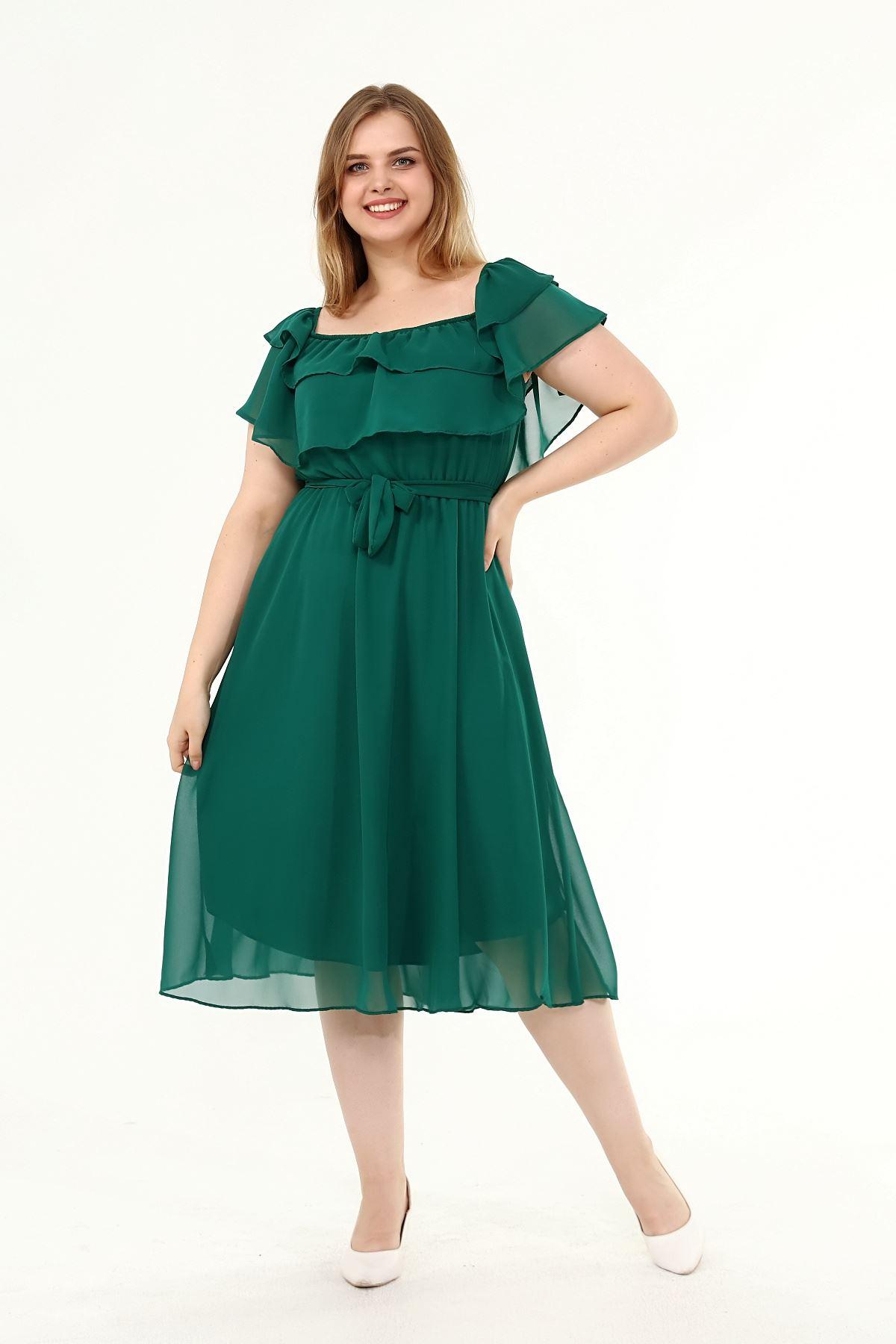 Karmen Yaka Büyük Beden Şifon Elbise 34E-1825