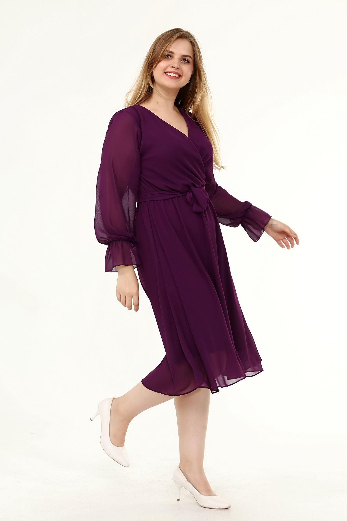 Uzun Kol Büyük Beden Şifon Elbise 10A-1820