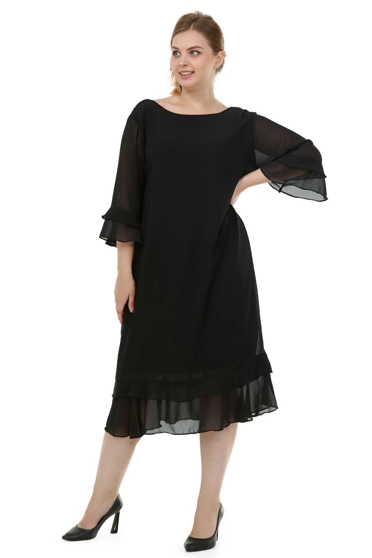 Büyük Beden Şifon Elbise 11C-1830