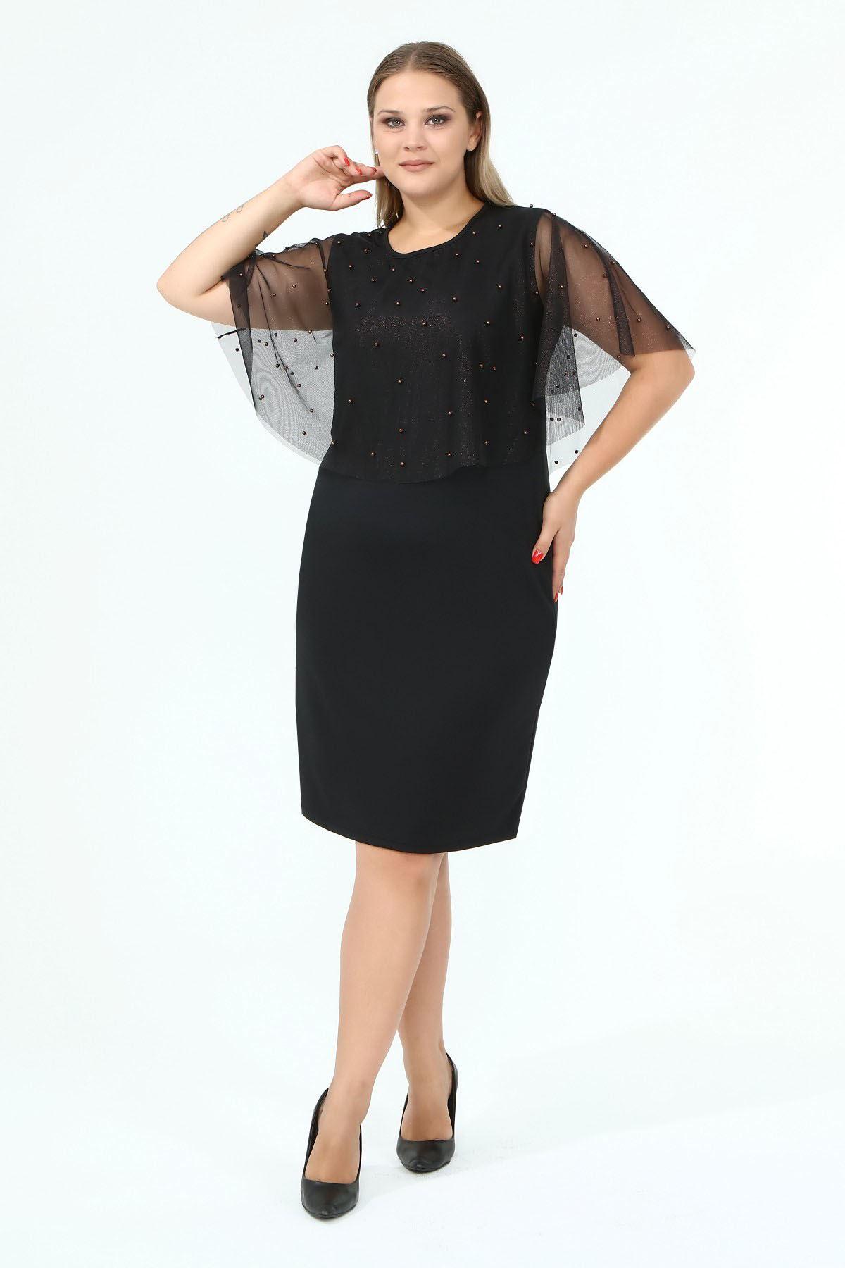 İncili Şallı Büyük Beden Elbise 18C-1849