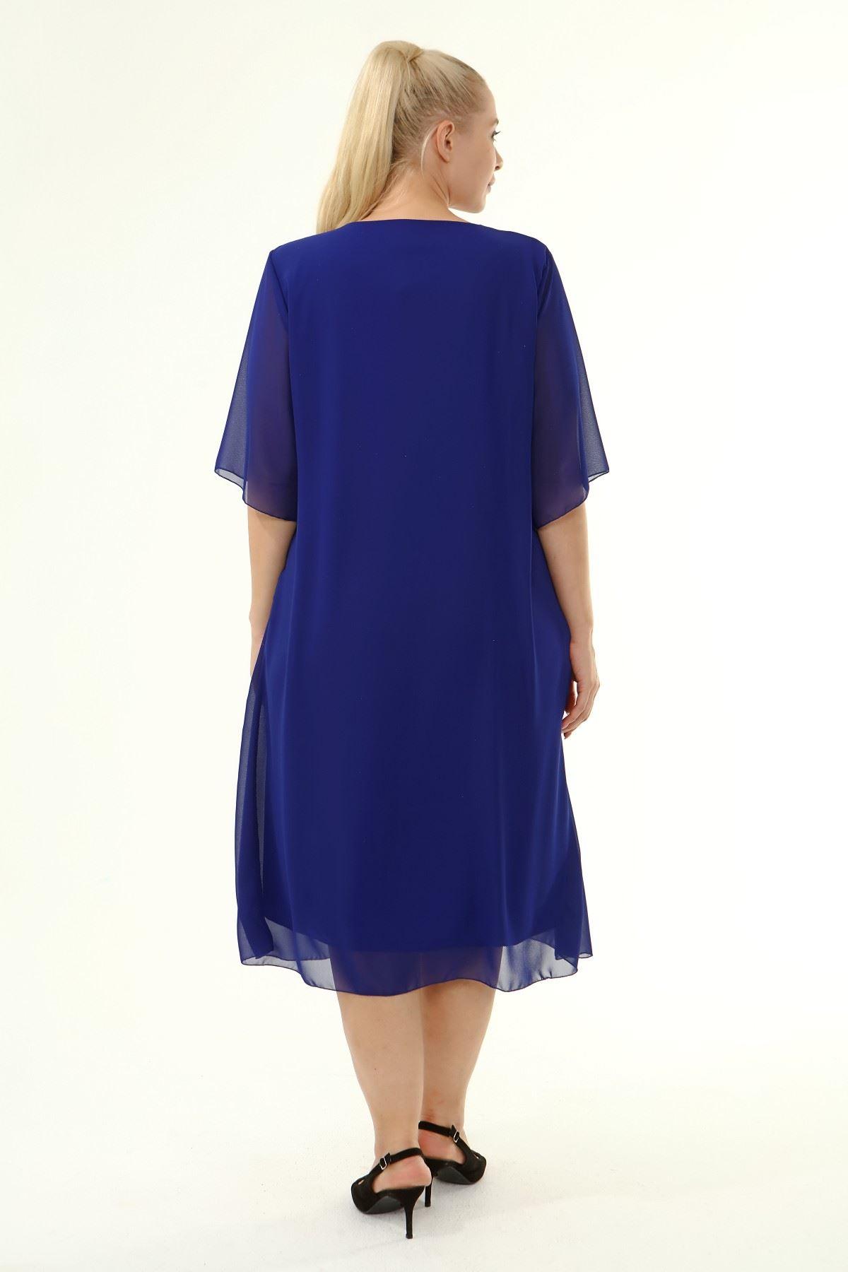 Büyük Beden Şifon Elbise 10A-1860