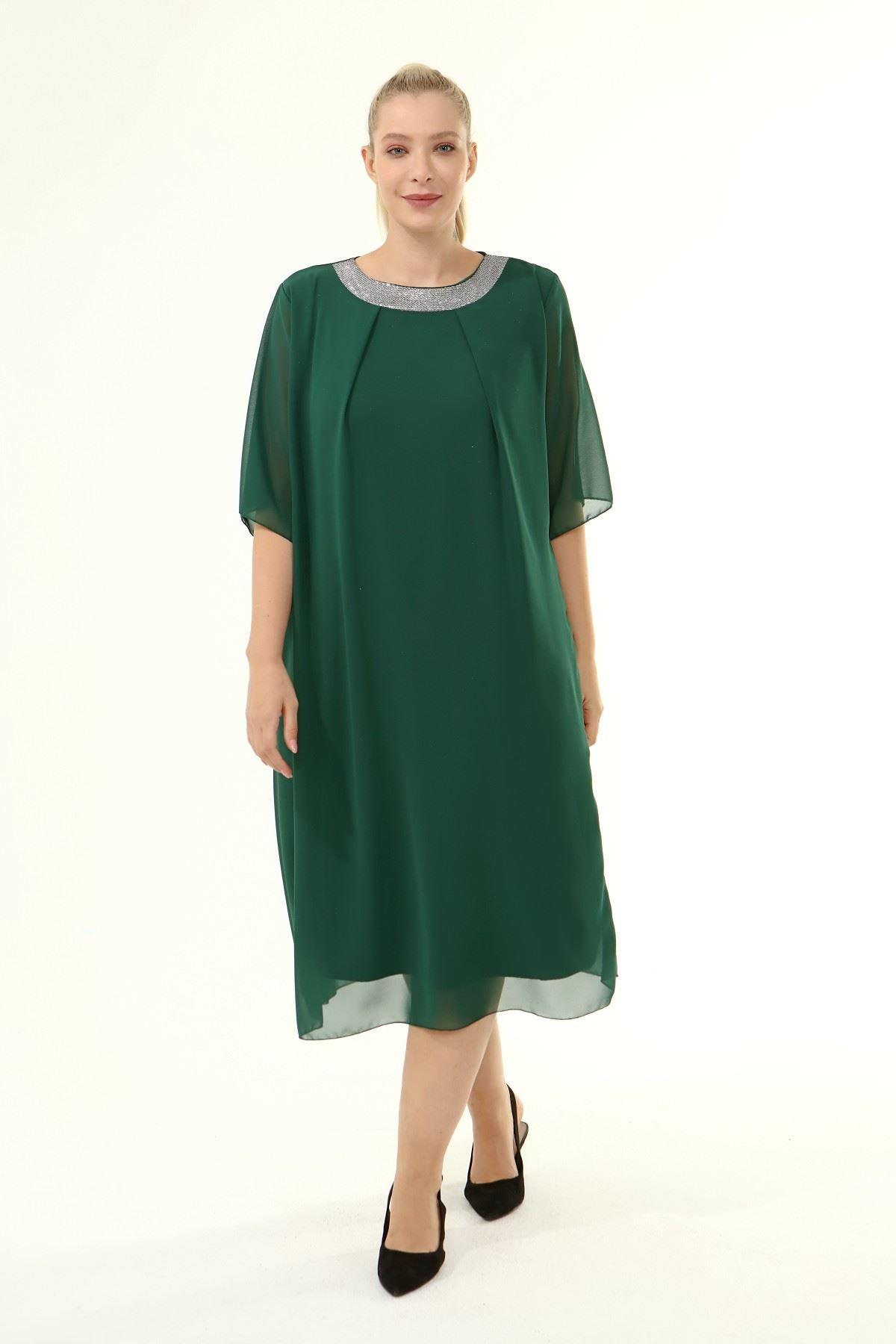 Büyük Beden Şifon Elbise 1C-1861