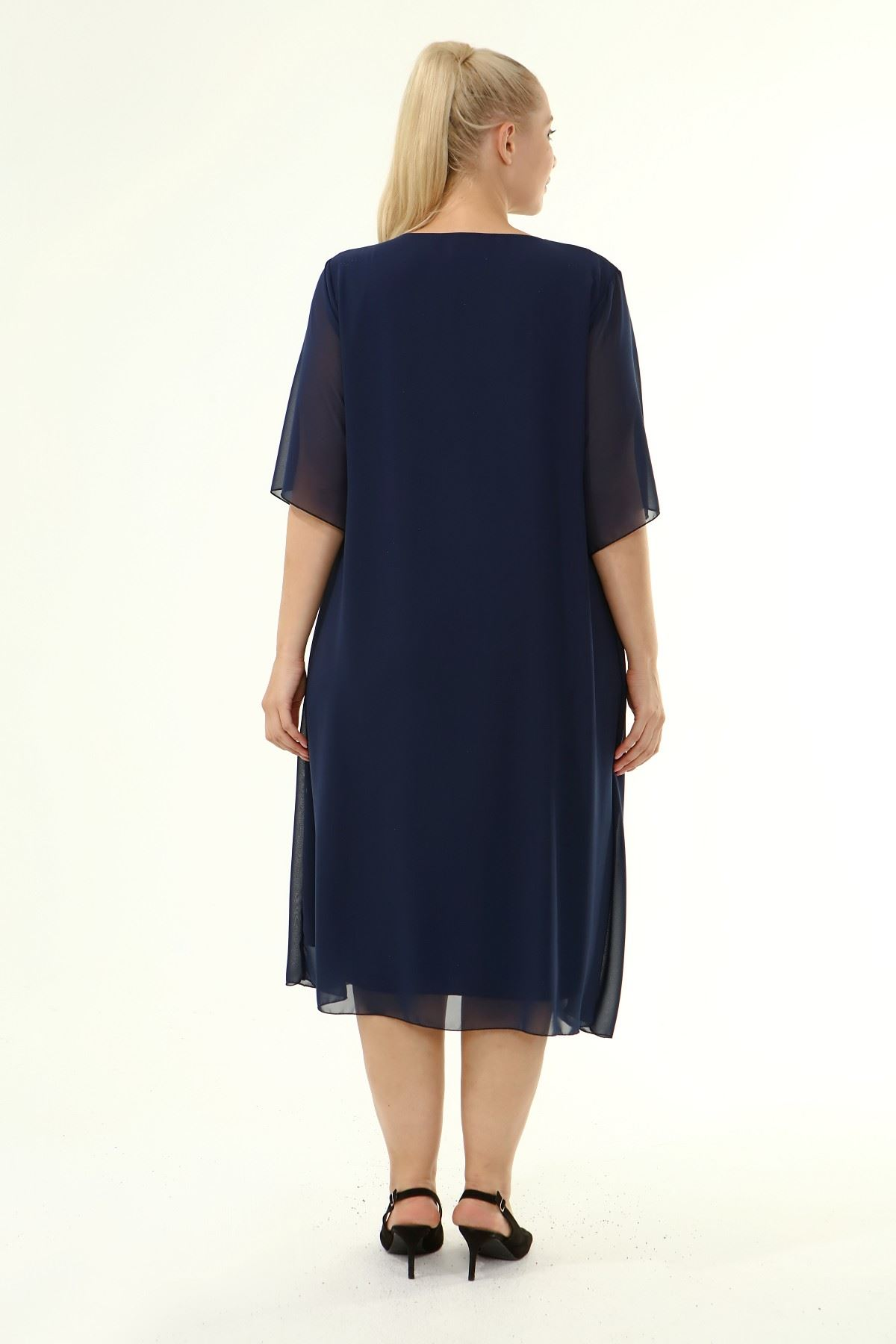 Büyük Beden Şifon Elbise 17E-1863