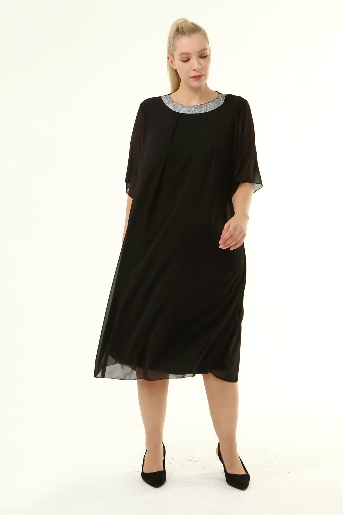 Büyük Beden Şifon Elbise 13D-1864