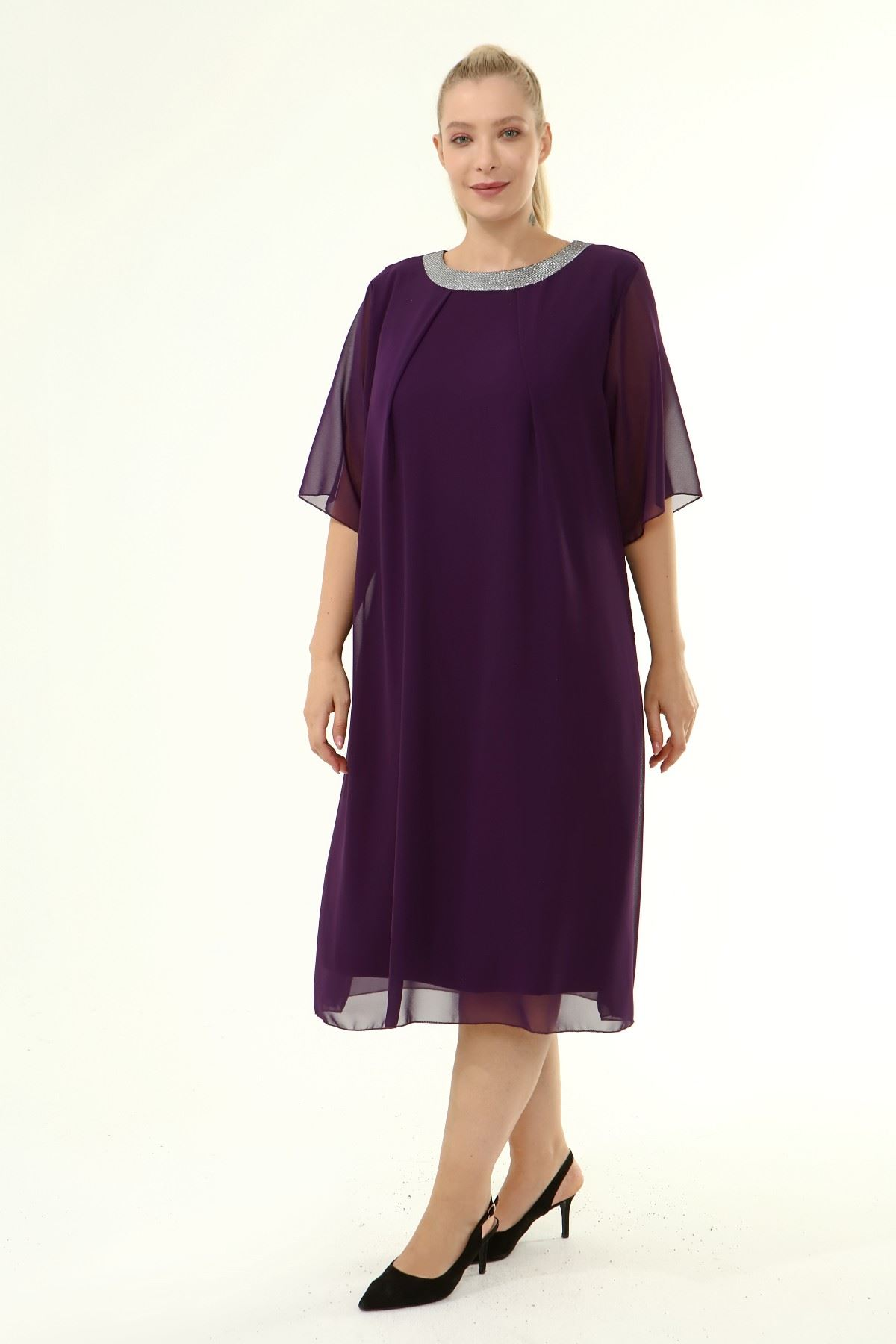 Büyük Beden Şifon Elbise 19D-1865
