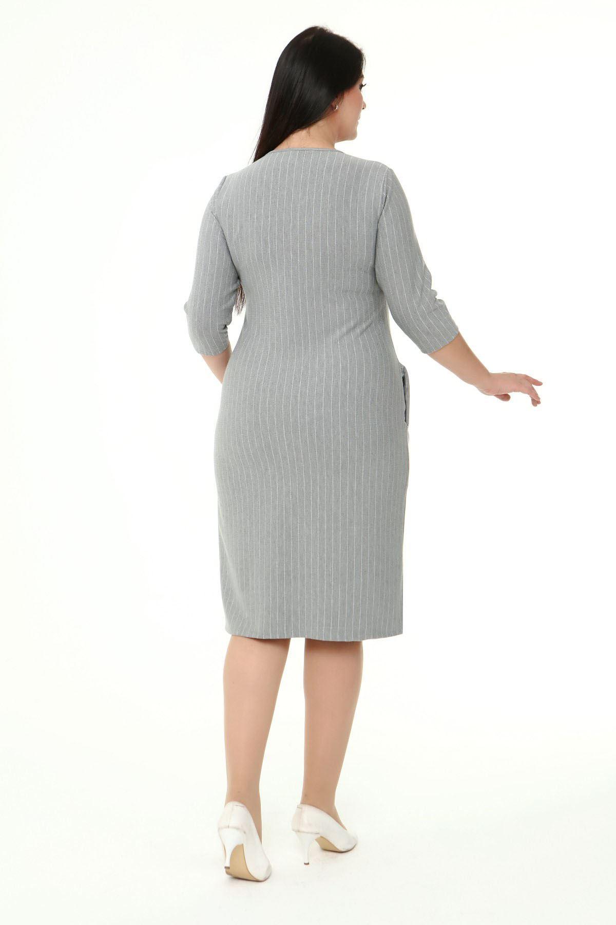 Jakarlı Cepli Kışlık Büyük Beden Elbise 2B-1866