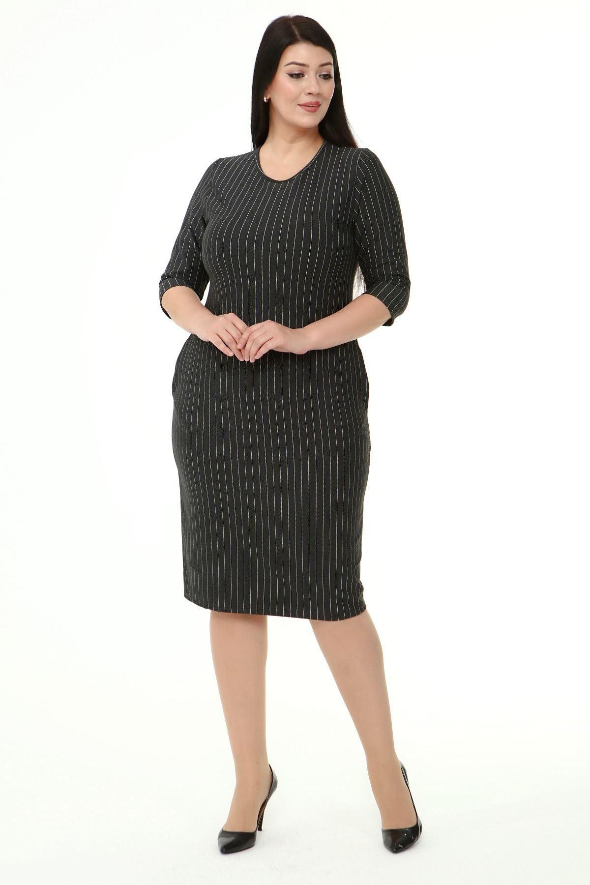 Jakarlı Cepli Kışlık Büyük Beden Elbise 23E-1871
