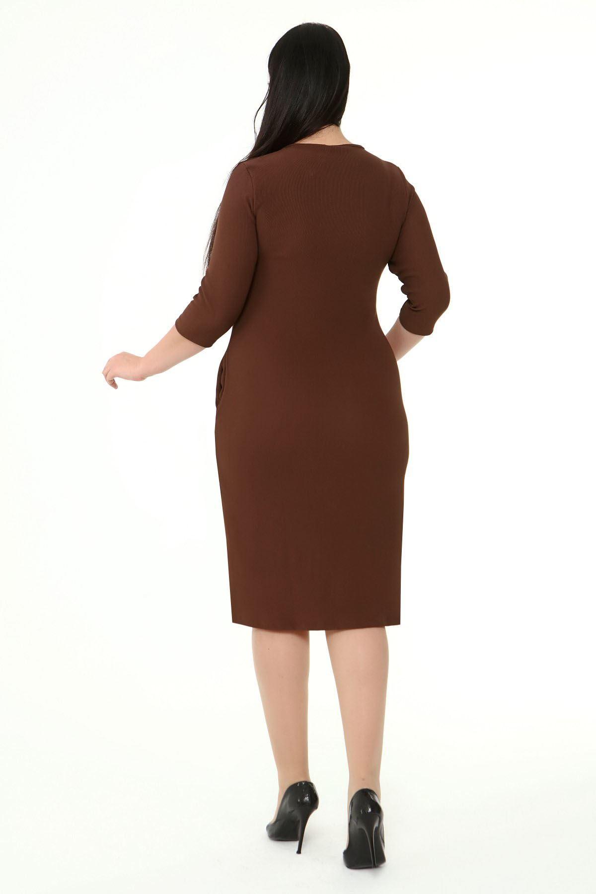 Jakarlı Cepli Kışlık Büyük Beden Elbise 2B-1872