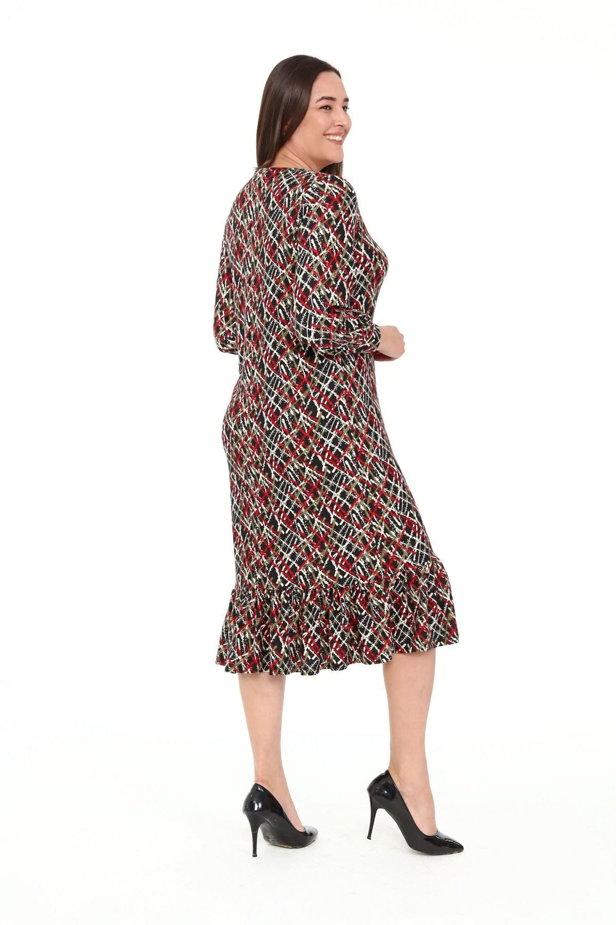 Eteği Fırfırlı Büyük Beden Elbise 27B-1911
