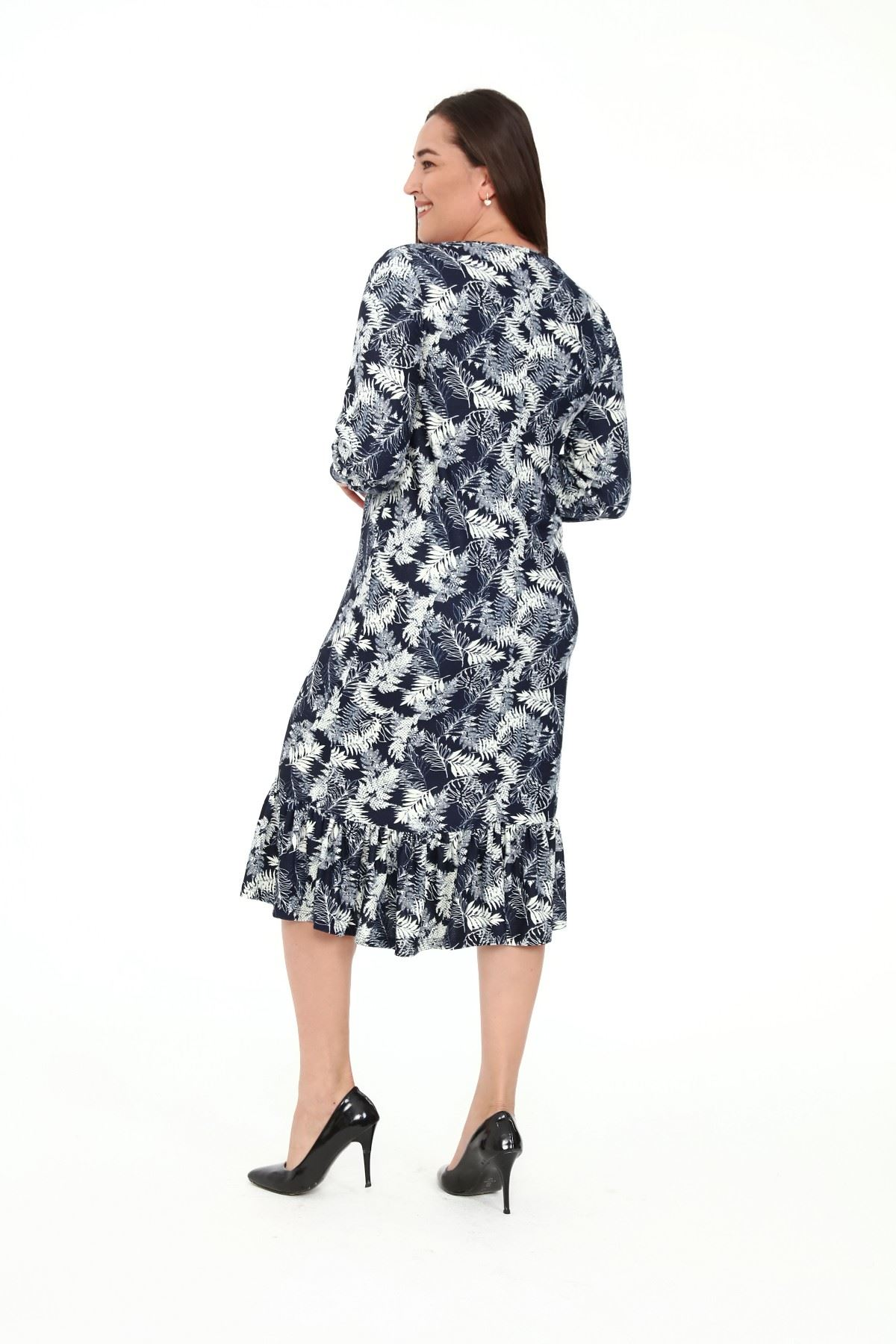 Eteği Fırfırlı Yaprak Desen Büyük Beden Elbise 30A-1913