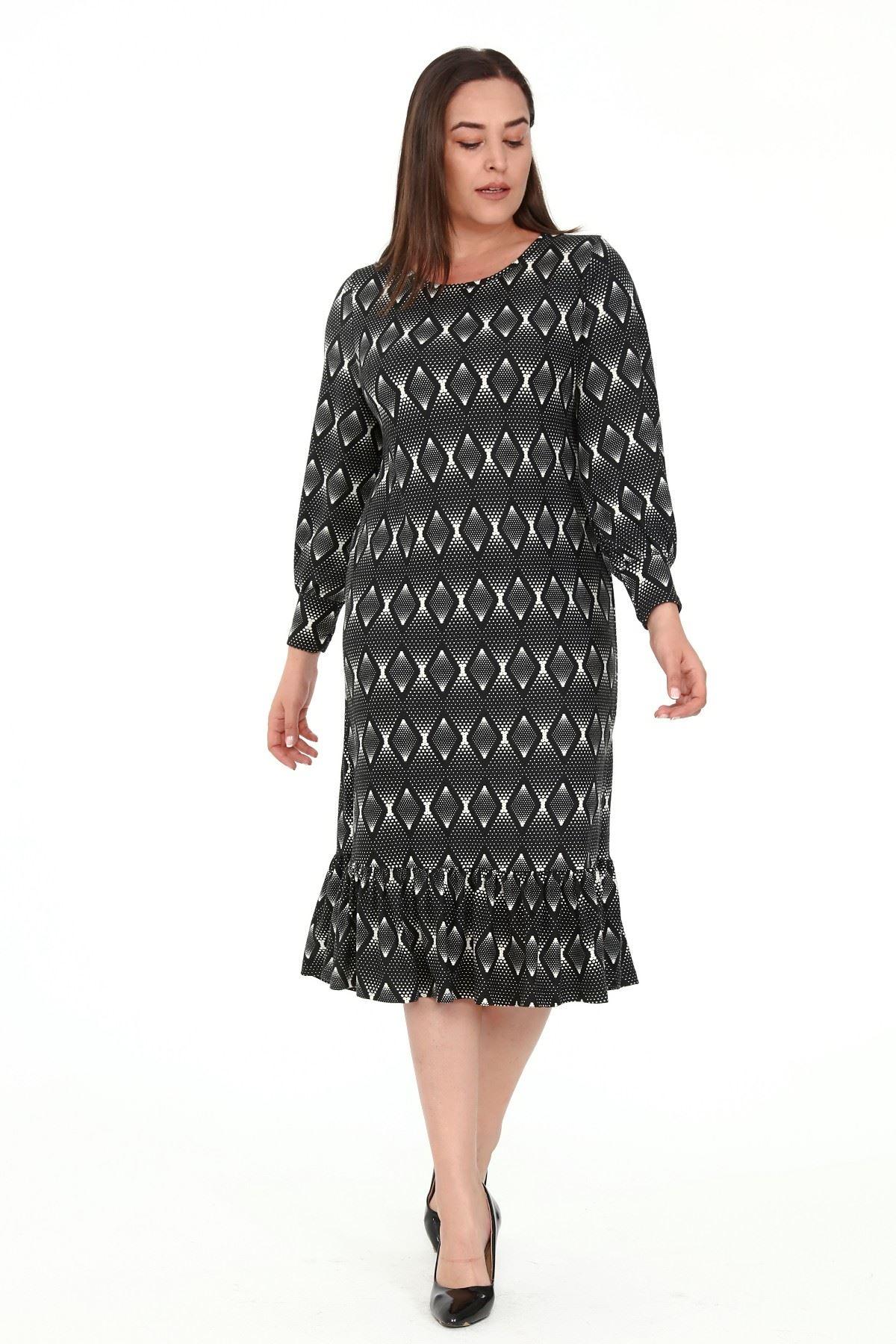 Eteği Fırfırlı Desenli Büyük Beden Elbise 5B-1914