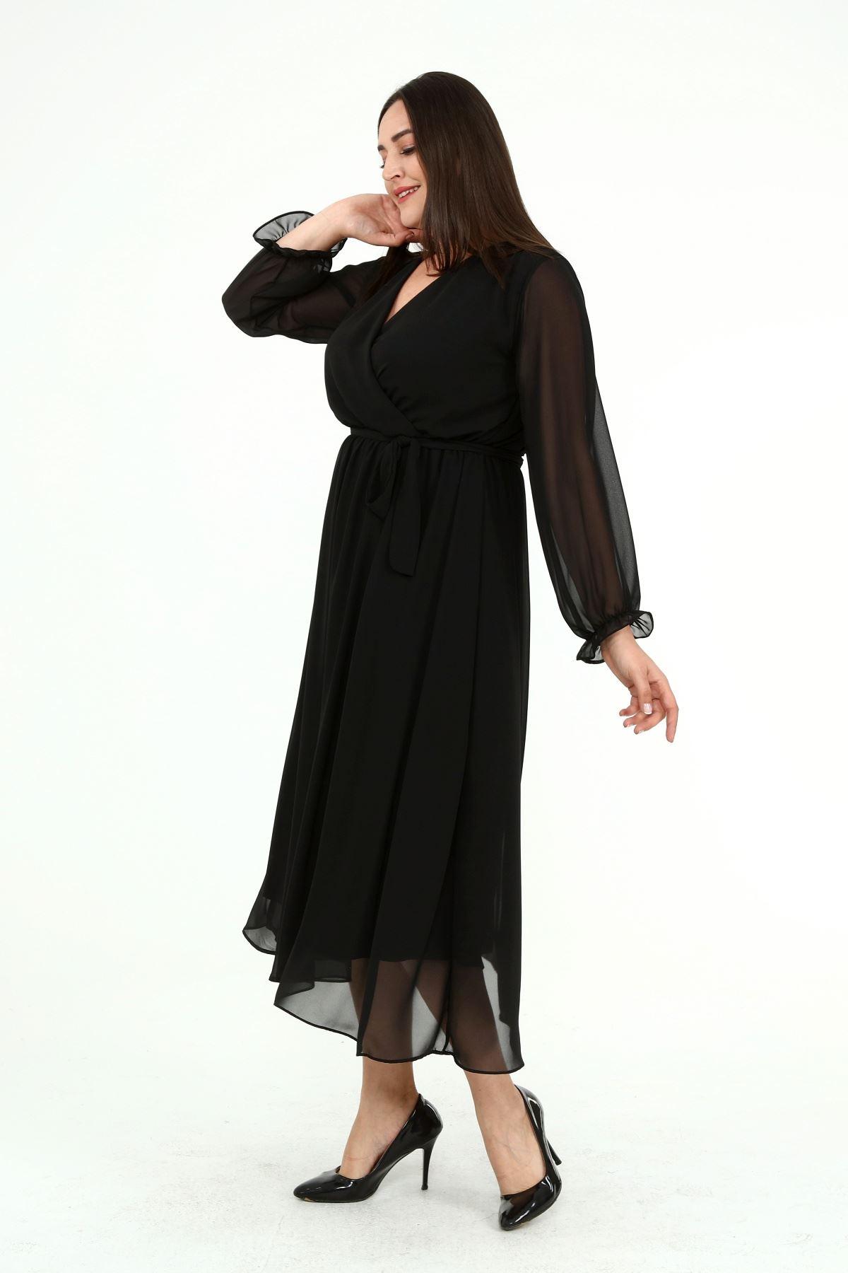 Uzun Kol Büyük Beden Şifon Elbise 26B-1928